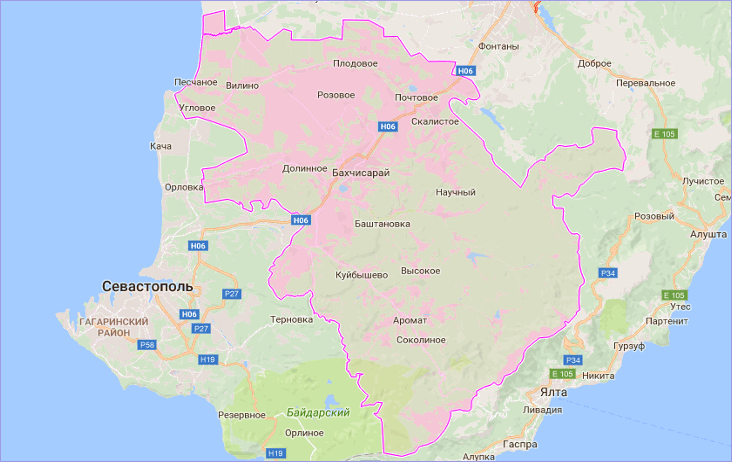Бахчисарайский район Крыма на карте