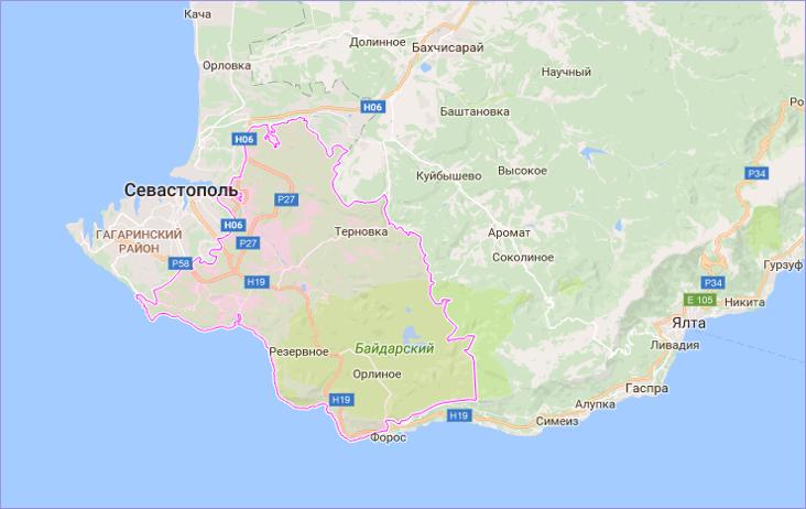 Балаклавский район Севастополя на карте
