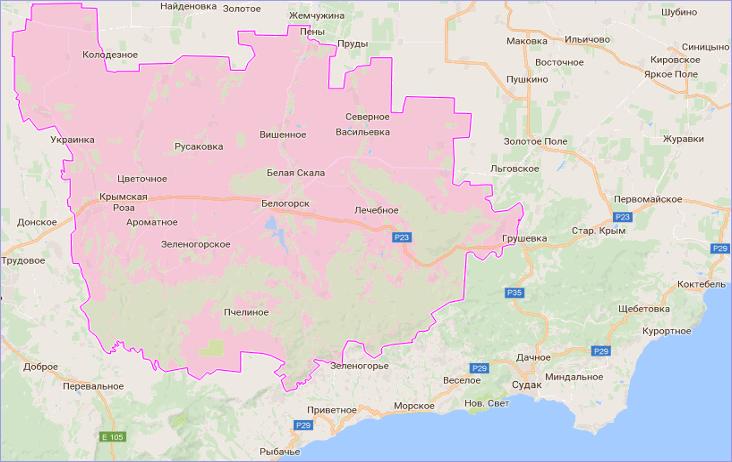 Белогорский район Крыма на карте