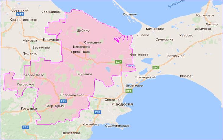 Кировский район Крыма на карте