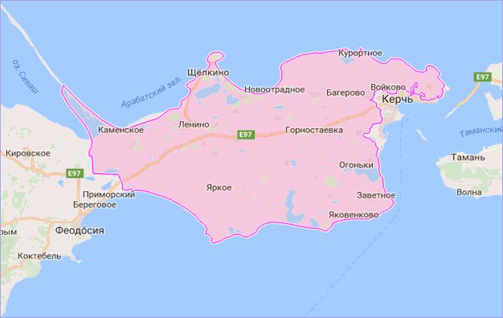 Ленинский район Крыма на карте
