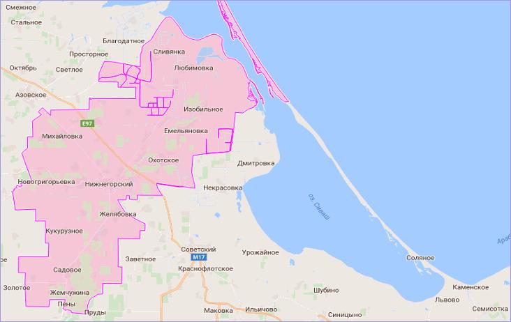 Нижнегорский район Крыма на карте