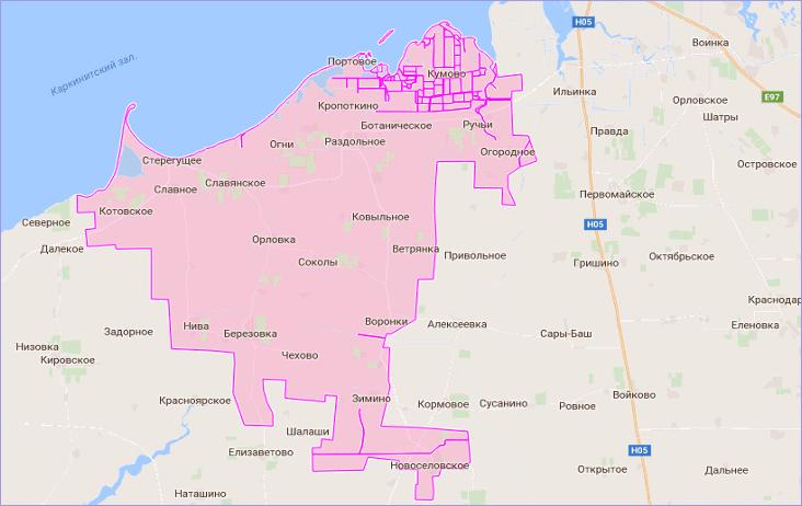 Раздольненский район Крыма на карте